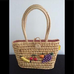 New Vintage Straw Fruit Picnic Bag Purse